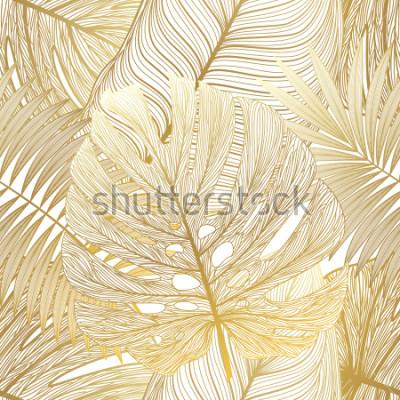 Obraz Bezešvé vzor s tropické listy palm. Vektorové ilustrace.