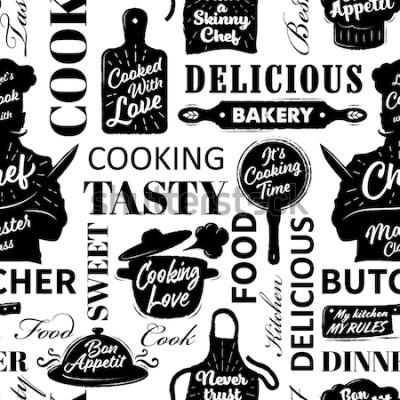 Obraz Bezešvé vzor s vaření objekty. Vektorové ilustrace