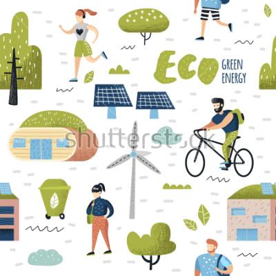 Obraz Bezešvé vzor s zelené město. Ochrana životního prostředí. Technologie budoucnosti města Eco pro zachování planety. Alternativní energie ekologie pozadí. Vektorové ilustrace