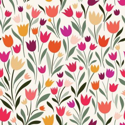 Obraz Bezešvé vzorek s ručně kreslenými tulipány