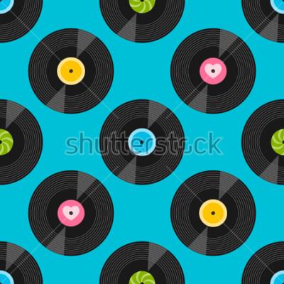 Obraz Bezešvé vzorek s vinylovými záznamy