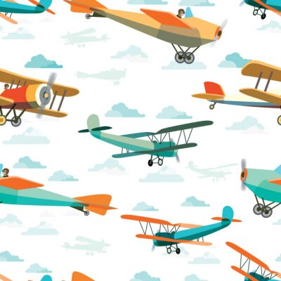 Obraz Bezešvé vzorek z Retro Letadla