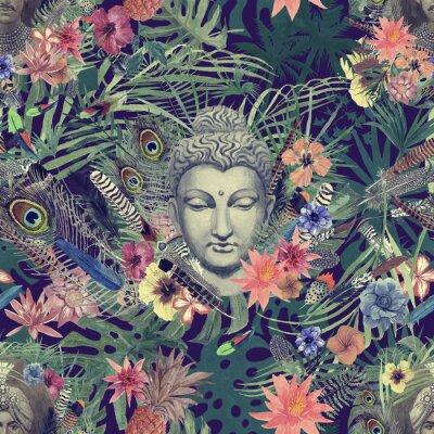 Obraz Bezešvý ručně kreslený akvarel s hlavou buddhy, maharajah, květy, peří, dlaně.