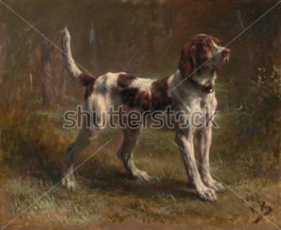 Obraz BĚŽNÁ BRIKETA, od Rosy Bonheur, 1856, francouzská malba, olej na plátně. Byl to portrét psa Vicomte dArmaille. Bonheur byl mistr zvířat a nejznámější Eur