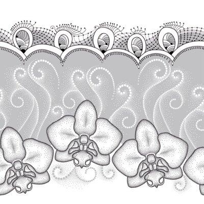 Obraz Bezproblémové vzorek s tečkovanou můra Orchid nebo Phalaenopsis, bílými spirálami a dekorativní krajky na šedém pozadí. Květinové pozadí v dotwork stylu.