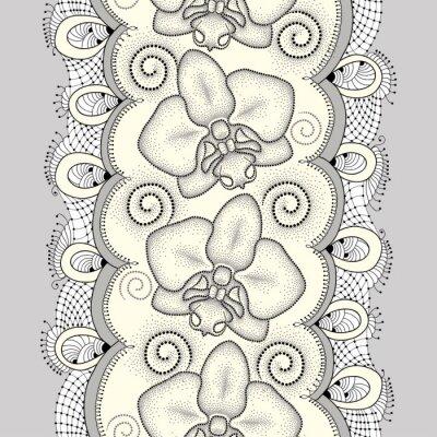 Obraz Bezproblémové vzorek s tečkovanou můra Orchid nebo Phalaenopsis, víry a ozdobnou krajkou na světle žlutém pozadí. Květinové pozadí v dotwork stylu.