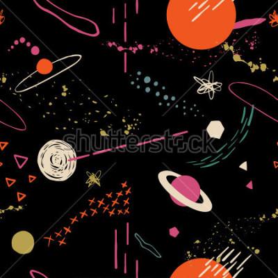 Obraz Bezproblémový barevný vzorek s prostorem, hvězdami, galaxií, souhvězdí. Ručně malované překryvné pozadí pro váš design.Textile, dekorace blogu, banner, plakát, balicí papír.
