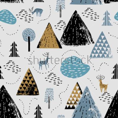 Obraz Bezproblémový vzor s horskou krajinou, dešťovou vodou a lesy. Perfektní pro karty, pozvánky, tapety, bannery, mateřská školu, dětská sprchu, dětská výzdobu. Skandinávská krajina.