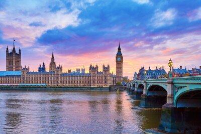 Obraz Big Ben a Westminster Bridge s řeka Temže