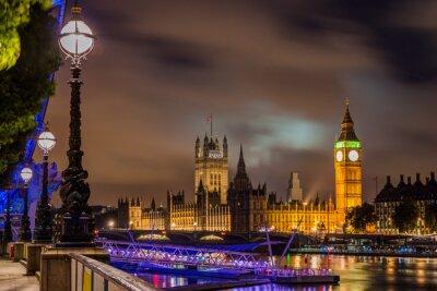 Obraz Big Ben a Westminster Bridge v noci, Londýn, Velká Británie