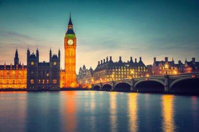 Obraz Big Ben a Westminster Bridge za soumraku v Londýně