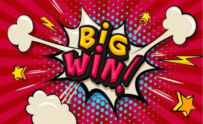 Obraz Big Win! Pop art cloud bubble. Funny speech shopping sale icon bubble. Trendy Colorful retro vintage comic background in pop art retro comic style. Illustration easy editable for Your design.