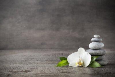 Obraz Bílá orchidej a lázeňské kameny na šedém pozadí.