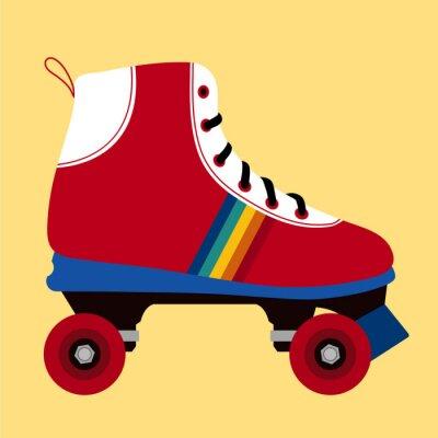 Obraz Bílé a červené bruslení boty