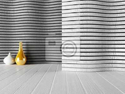 bílé a zlaté vázy u zdi,