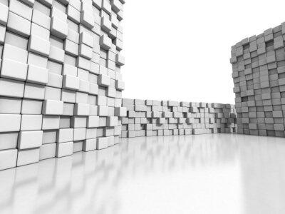 Obraz Bílé kostky stěna 3d pozadí
