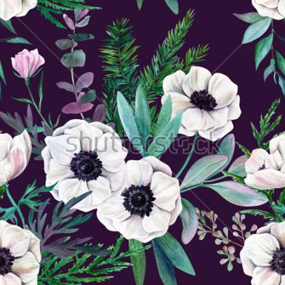 Obraz Bílé sasanky a listy na fialovém pozadí. Akvarel bezešvé vzor, plné barvy, ručně tažené ilustrace.