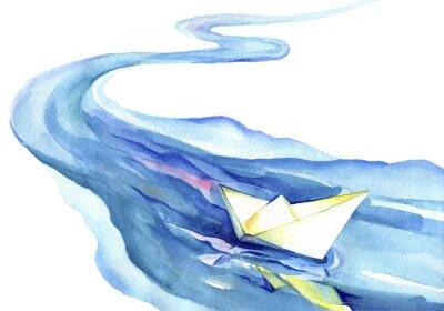 Obraz Bílý papír loď plovoucí ve vodě. Akvarel na řeku a loď na bílém pozadí.