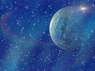 Obraz bílý záblesk vesmírné planety. kosmos nebe pozadí