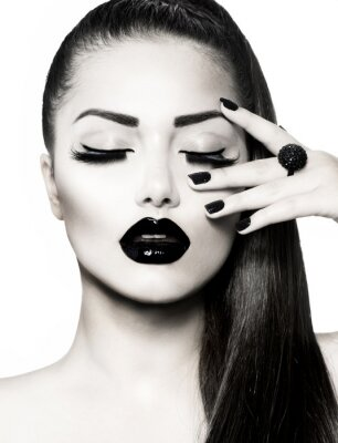 Obraz Black and White Brunette Girl Portrait. Trendy Caviar Manikúra