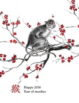 Obraz Blahopřání rok opice. Opice sedí na větvi z třešňového květu, orientální tušové malby. S čínskou hieroglyf