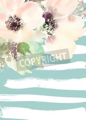 Obraz Blahopřání s květinami. Pastelové barvy. Ruční. Akvarel malovat. Svatba, narozeniny, Den matek. Svatební sprcha.