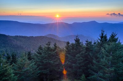 Obraz Blue Ridge Parkway podzim Západ slunce nad Apalačských hor