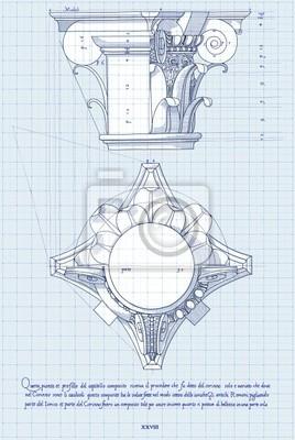 Blueprint - makovice-ručně nakreslit náčrtek kompozitní pořadí