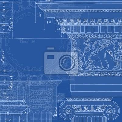 Blueprint. Ručně nakreslit náčrtek iontové architektonické pořadí