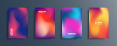 Obraz Blurred backgrounds set with modern abstract blurred color gradient patterns. Smooth templates collection for brochures, posters, banners, flyers and cards. Vector illustration.