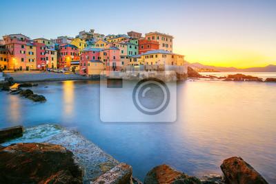 Boccadasse on sunrise, Genoa city, Italy