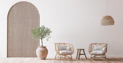 Obraz Boho cozy living room design, bright wall mockup, 3d render