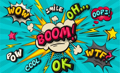 Obraz Boom pop art cloud bubble. Smile, wow, pow, cool, ok, oops, wtf funny speech bubble. Trendy Colorful retro vintage background in pop art retro comic style. Illustration easy editable for Your design.