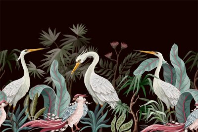 Obraz Border in chinoiserie style with storks and peonies. Vector.