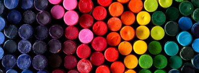 Obraz Box of crayons in a rainbow of colors background