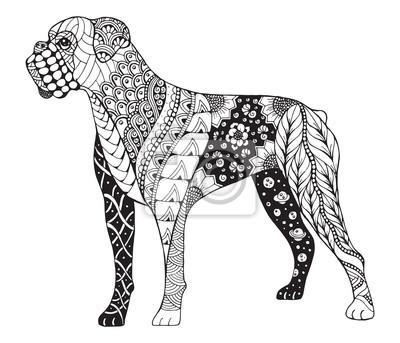 Boxer Pes Zentangle Stylizovany Vektor Ilustrace Rucni Kresba