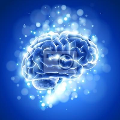 Brain, bokeh abstraktní světle a modré pozadí