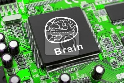 Brain symbol na počítačový čip, technologie koncepce