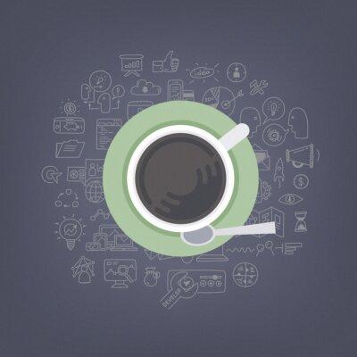 Obraz Brainstorm nápady s kávou ilustrační