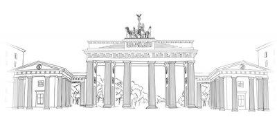 Obraz Braniborská brána. Berlín arch symbol. Ručně kreslenými skica tužkou vektorové ilustrace na bílém pozadí