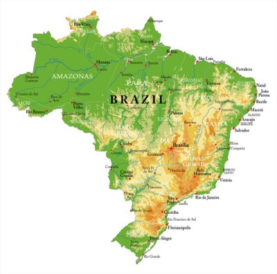 Brazil physical map