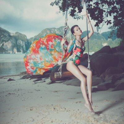 Obraz Bright dáma na pláži