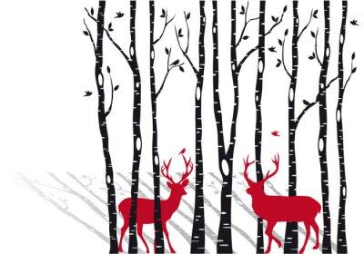 Obraz břízy s vánoční srnci, vektoru