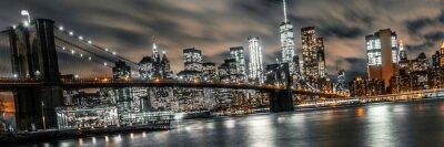Obraz brooklynský most v noci dlouhé expozice s výhledem na dolní manhattan