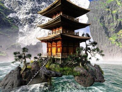 Obraz Buddhistický chrám ve skalnatých horách
