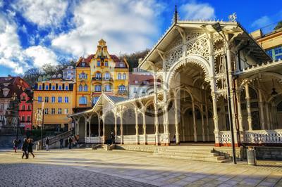 Carlsbad, proslulé lázeňské město v západních Čechách, velmi populární t