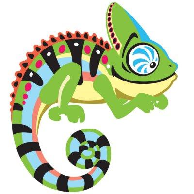 Obraz cartoon chameleon ještěrka. Boční pohled na bílé obrázek