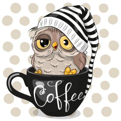 Obraz Cartoon owl is sitting in a Cup of coffee