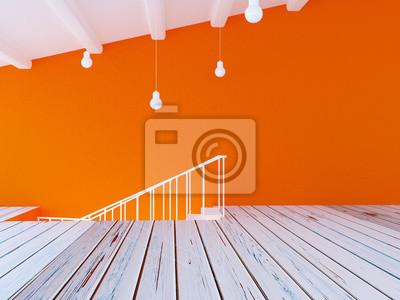 část místnosti, schody, 3d