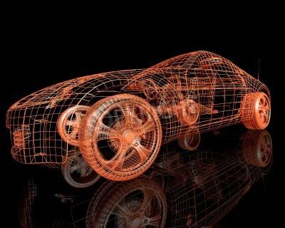 Obraz čelní pohled na moderní model auta 3d vykreslování na černém pozadí